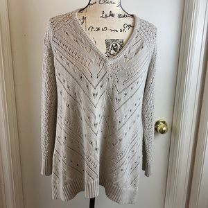 Torrid V-Neck Cream Colored Open Knit with Cascading Sides A